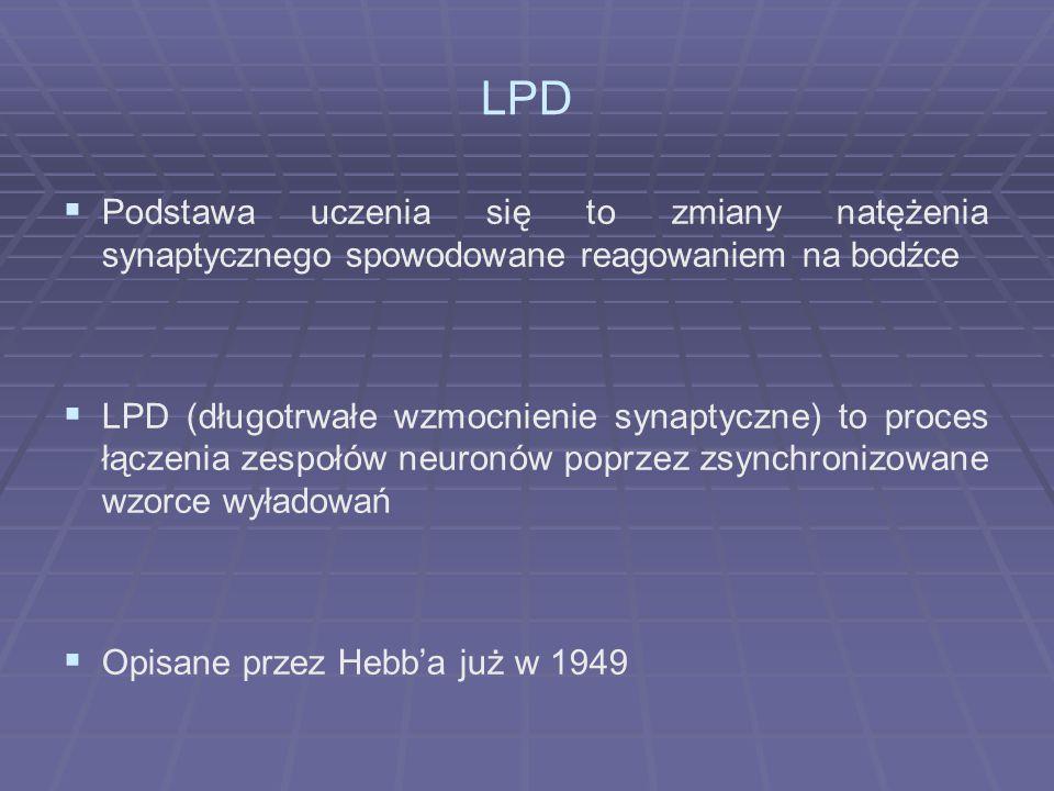 LPD Podstawa uczenia się to zmiany natężenia synaptycznego spowodowane reagowaniem na bodźce.
