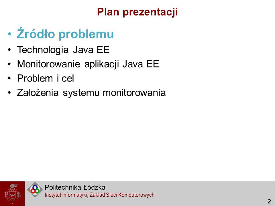 Źródło problemu Plan prezentacji Technologia Java EE