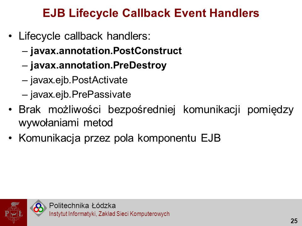 EJB Lifecycle Callback Event Handlers