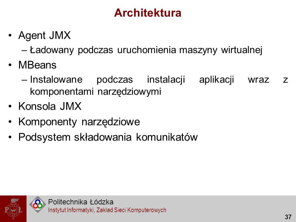 Architektura Agent JMX MBeans Konsola JMX Komponenty narzędziowe