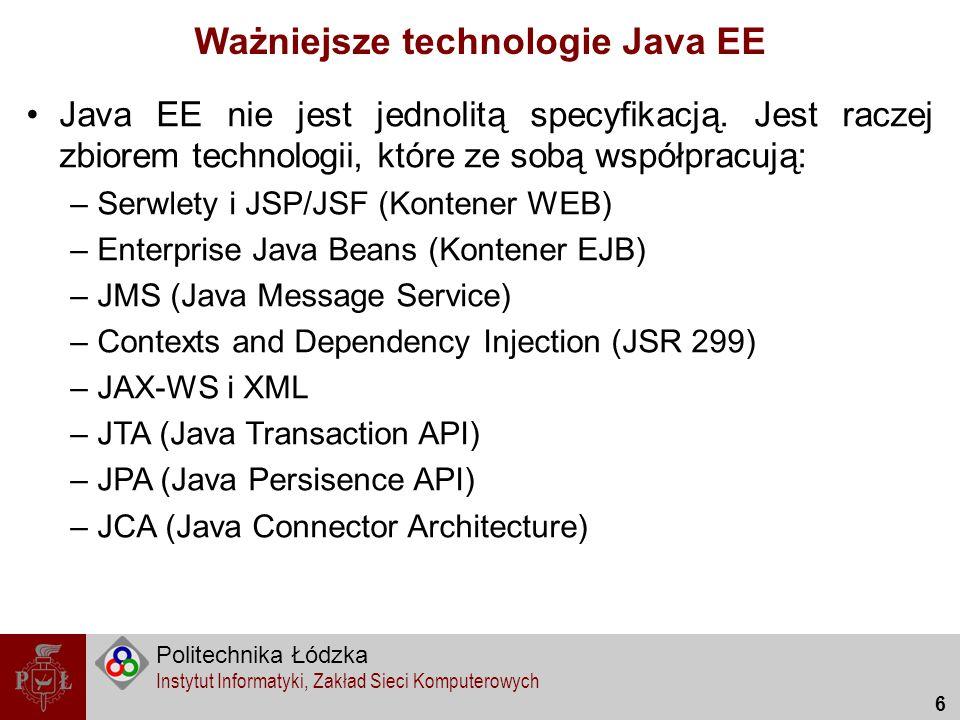 Ważniejsze technologie Java EE