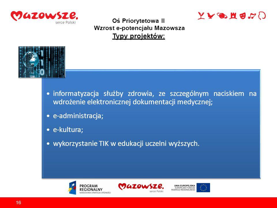 Oś Priorytetowa II Wzrost e-potencjału Mazowsza Typy projektów: