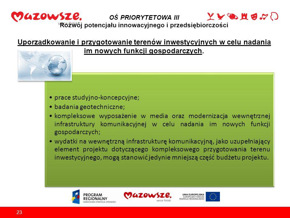 prace studyjno-koncepcyjne; badania geotechniczne;