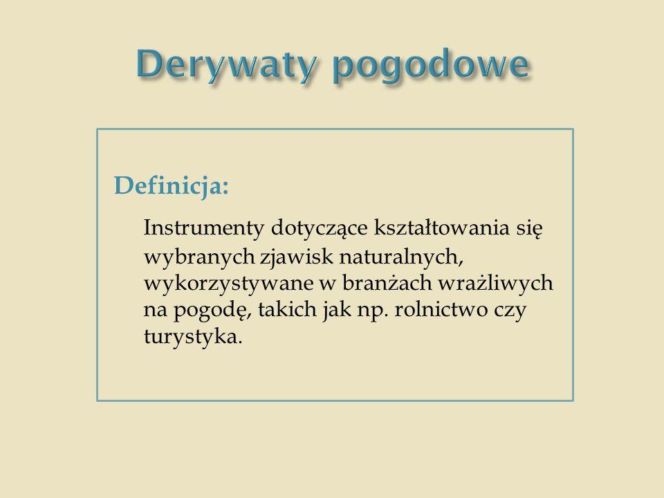 Derywaty pogodowe Definicja: