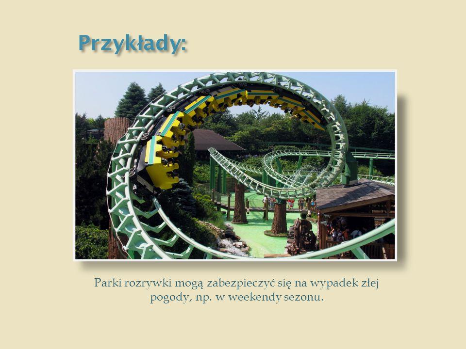 Przykłady: Parki rozrywki mogą zabezpieczyć się na wypadek złej pogody, np. w weekendy sezonu.