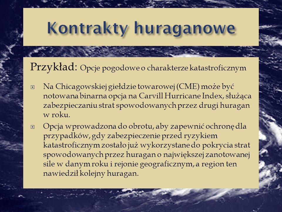 Kontrakty huraganowe Przykład: Opcje pogodowe o charakterze katastroficznym.