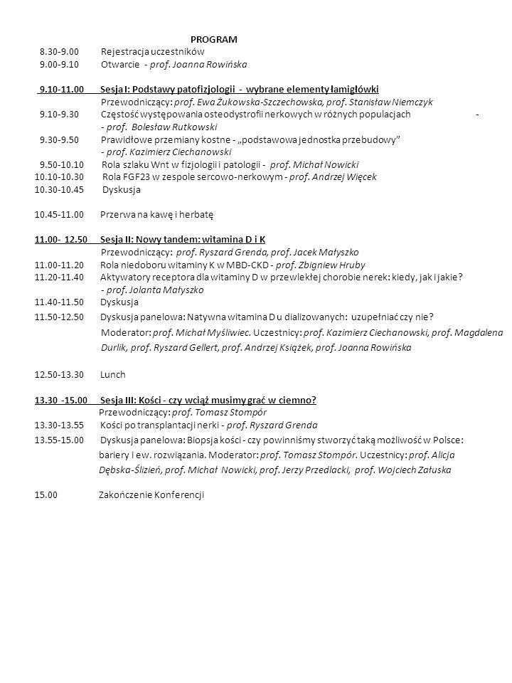 PROGRAM 8.30-9.00 Rejestracja uczestników. 9.00-9.10 Otwarcie - prof. Joanna Rowińska.