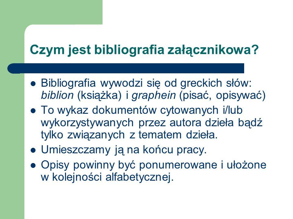 Czym jest bibliografia załącznikowa
