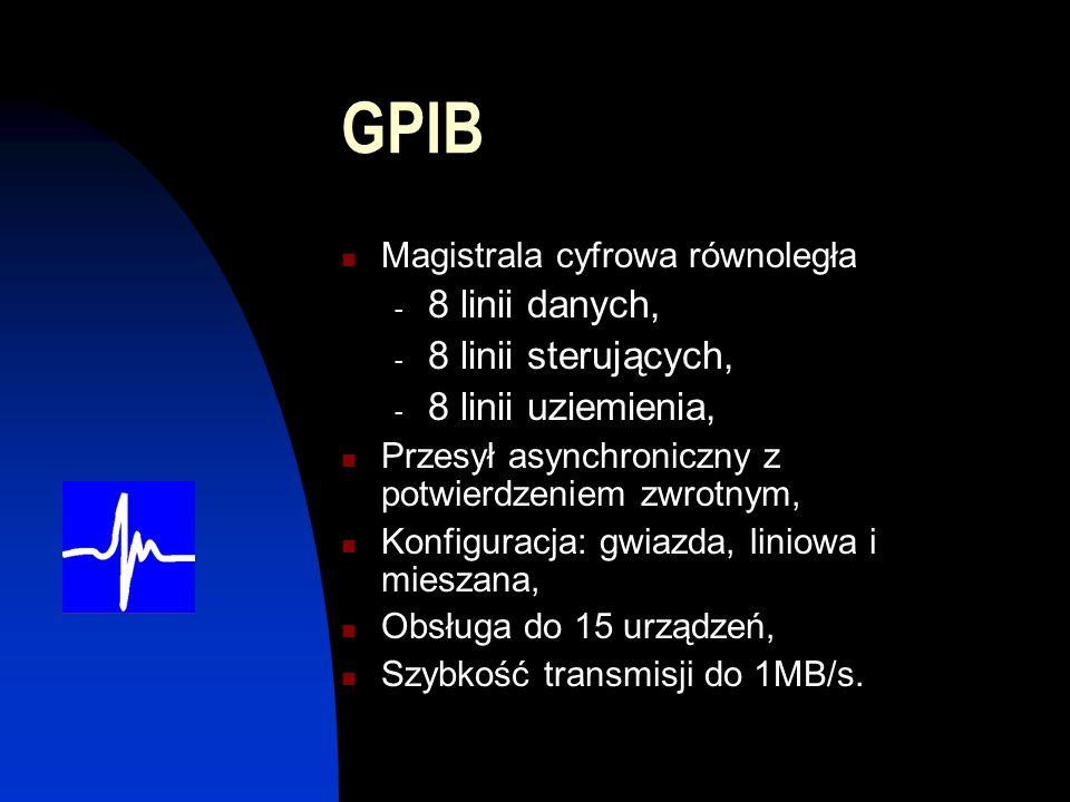 GPIB 8 linii danych, 8 linii sterujących, 8 linii uziemienia,