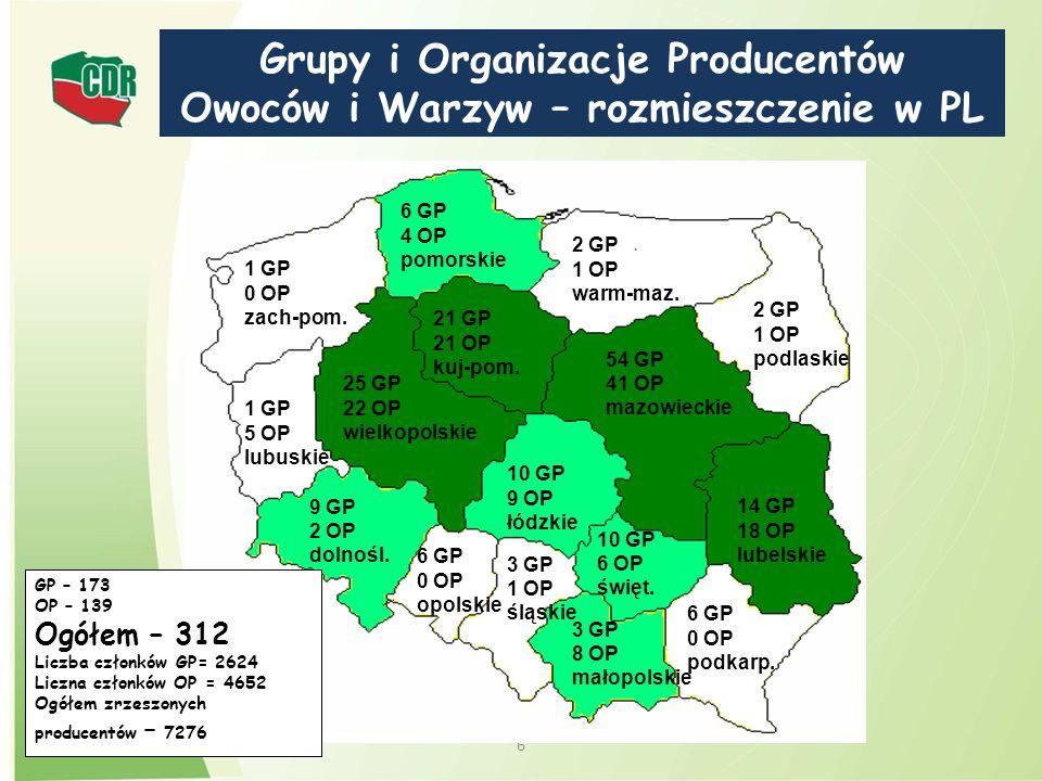 Grupy i Organizacje Producentów Owoców i Warzyw – rozmieszczenie w PL