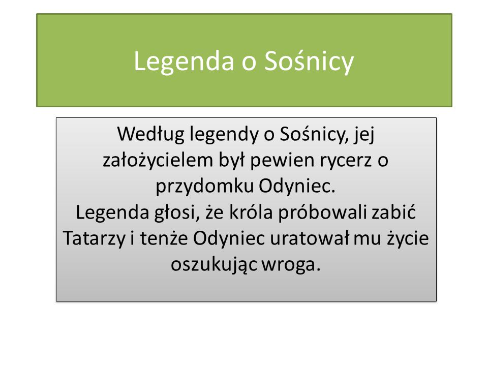 Legenda o Sośnicy