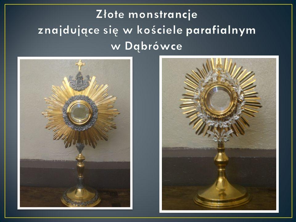 Złote monstrancje znajdujące się w kościele parafialnym w Dąbrówce