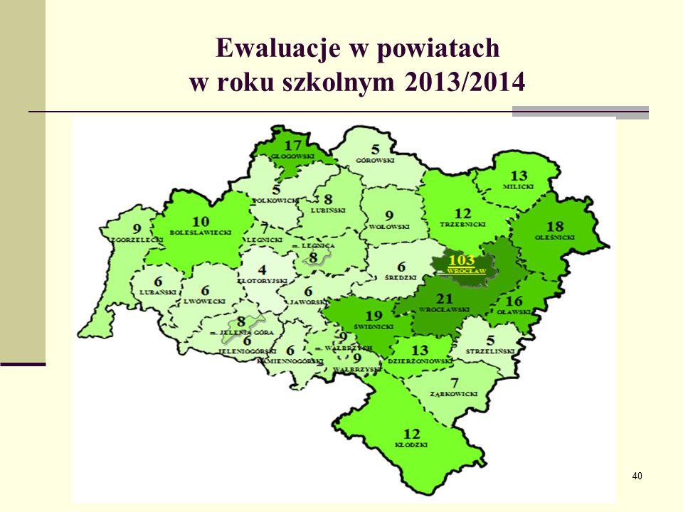 Ewaluacje w powiatach w roku szkolnym 2013/2014