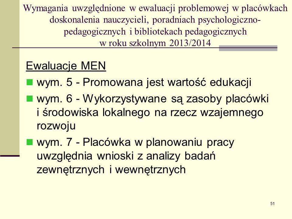 wym. 5 - Promowana jest wartość edukacji
