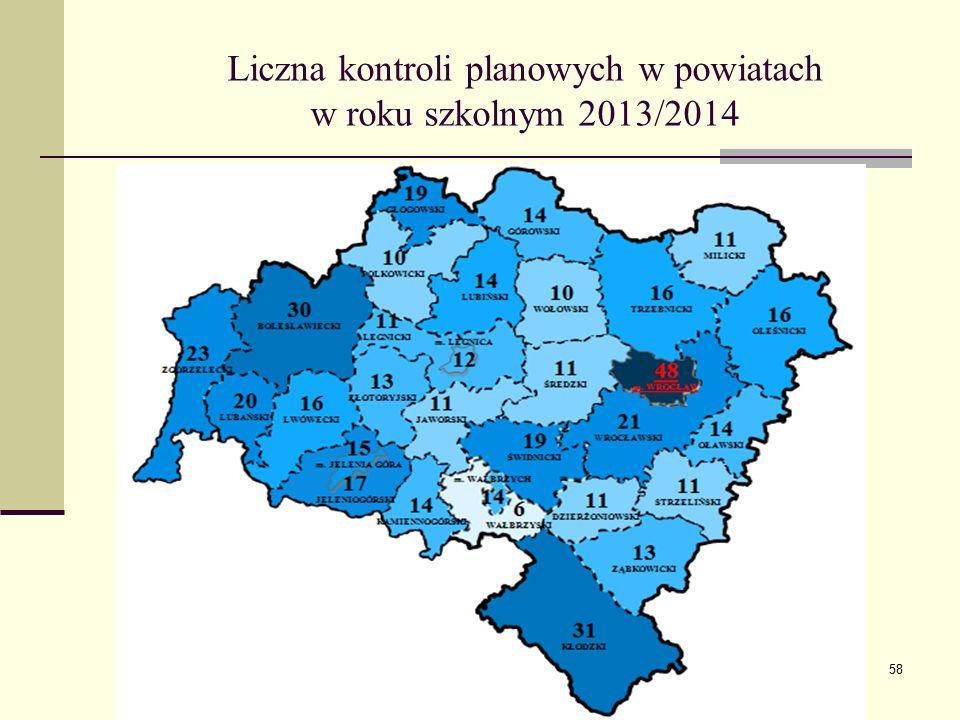 Liczna kontroli planowych w powiatach w roku szkolnym 2013/2014