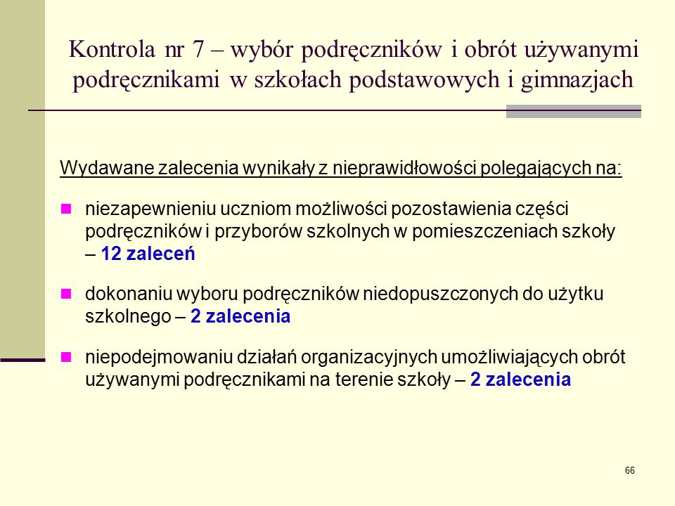 Kontrola nr 7 – wybór podręczników i obrót używanymi podręcznikami w szkołach podstawowych i gimnazjach