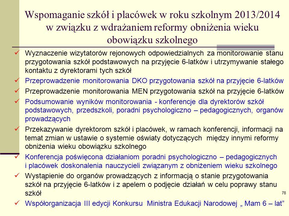 Wspomaganie szkół i placówek w roku szkolnym 2013/2014 w związku z wdrażaniem reformy obniżenia wieku obowiązku szkolnego