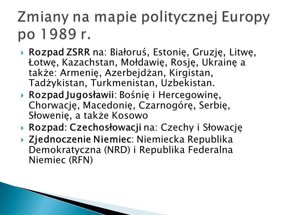 Zmiany na mapie politycznej Europy po 1989 r.