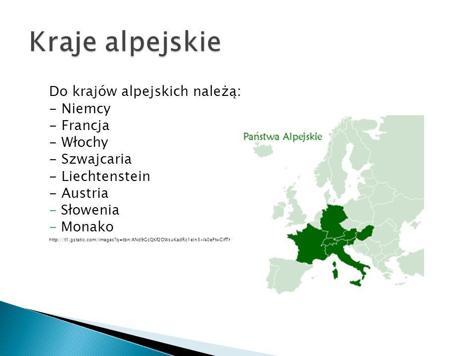 Kraje alpejskie Do krajów alpejskich należą: - Niemcy - Francja