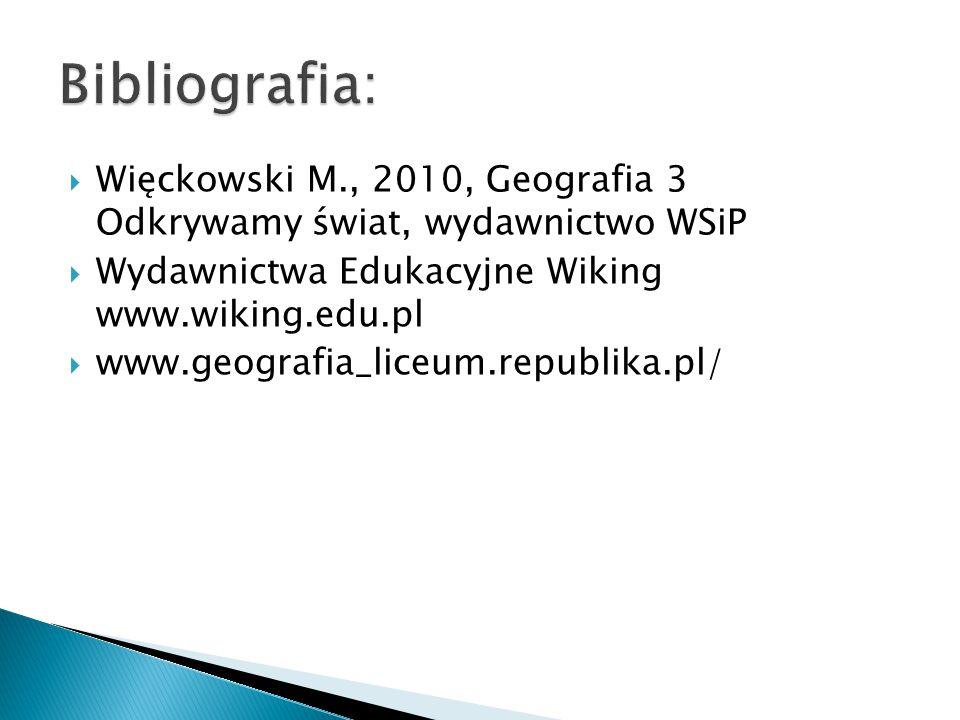 Bibliografia: Więckowski M., 2010, Geografia 3 Odkrywamy świat, wydawnictwo WSiP. Wydawnictwa Edukacyjne Wiking www.wiking.edu.pl.