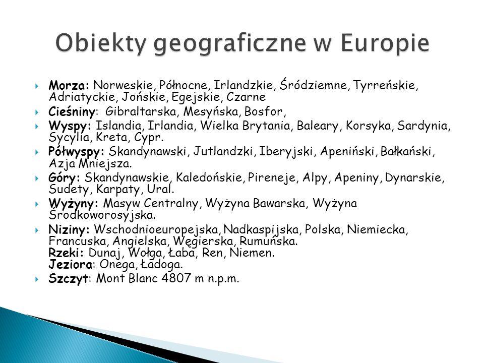 Obiekty geograficzne w Europie