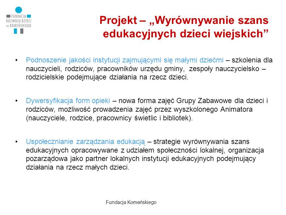 """Projekt – """"Wyrównywanie szans edukacyjnych dzieci wiejskich"""