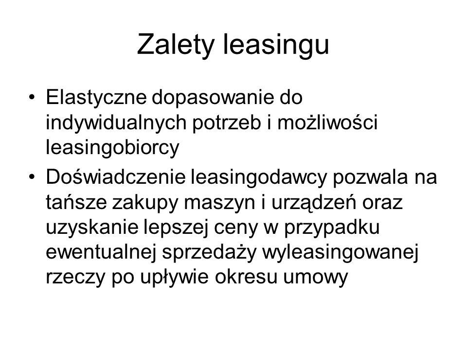 Zalety leasingu Elastyczne dopasowanie do indywidualnych potrzeb i możliwości leasingobiorcy.