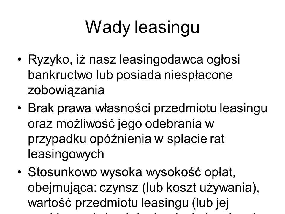 Wady leasingu Ryzyko, iż nasz leasingodawca ogłosi bankructwo lub posiada niespłacone zobowiązania.