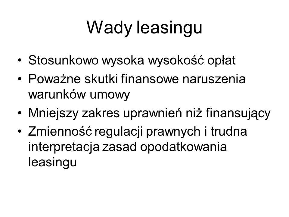 Wady leasingu Stosunkowo wysoka wysokość opłat