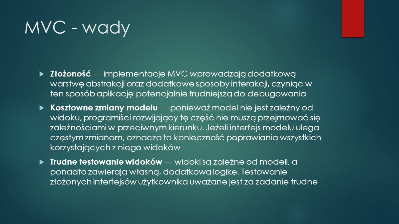 MVC - wady