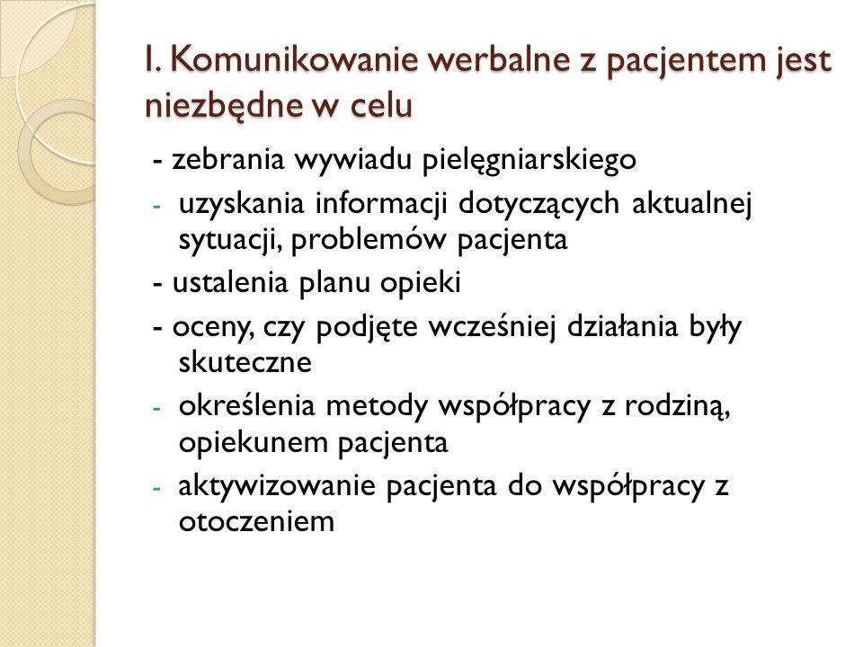I. Komunikowanie werbalne z pacjentem jest niezbędne w celu