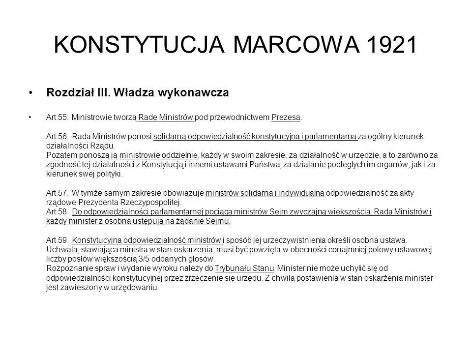 KONSTYTUCJA MARCOWA 1921 Rozdział III. Władza wykonawcza