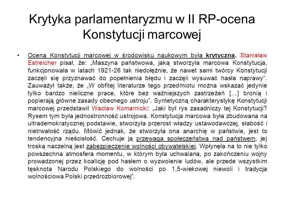 Krytyka parlamentaryzmu w II RP-ocena Konstytucji marcowej