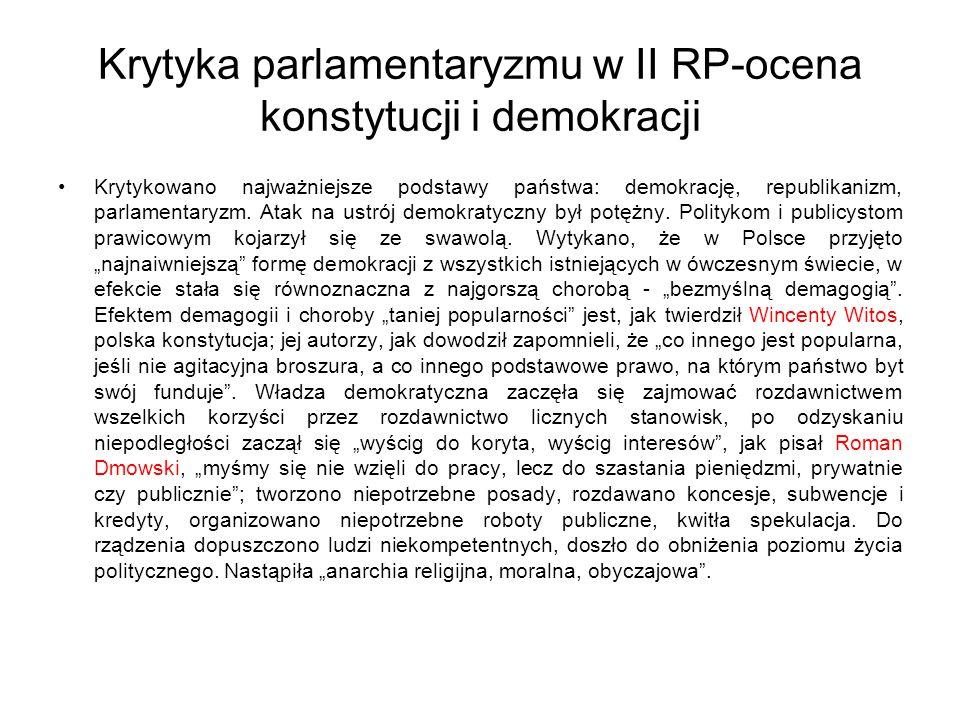 Krytyka parlamentaryzmu w II RP-ocena konstytucji i demokracji