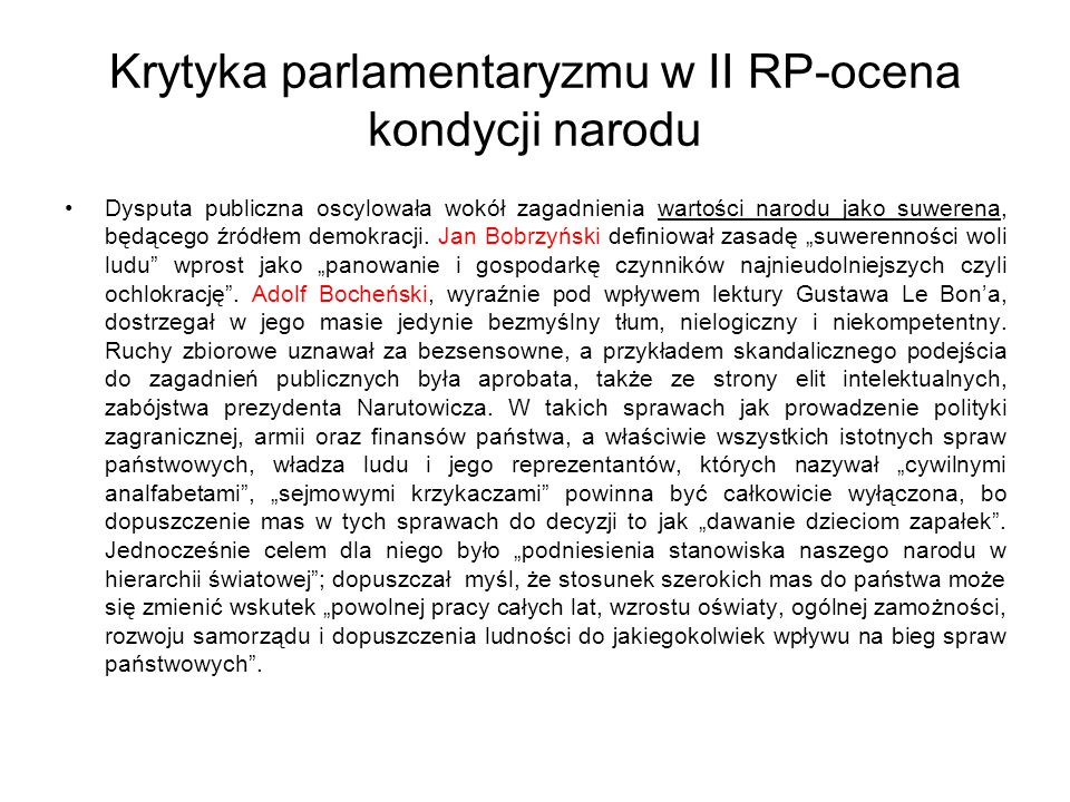 Krytyka parlamentaryzmu w II RP-ocena kondycji narodu