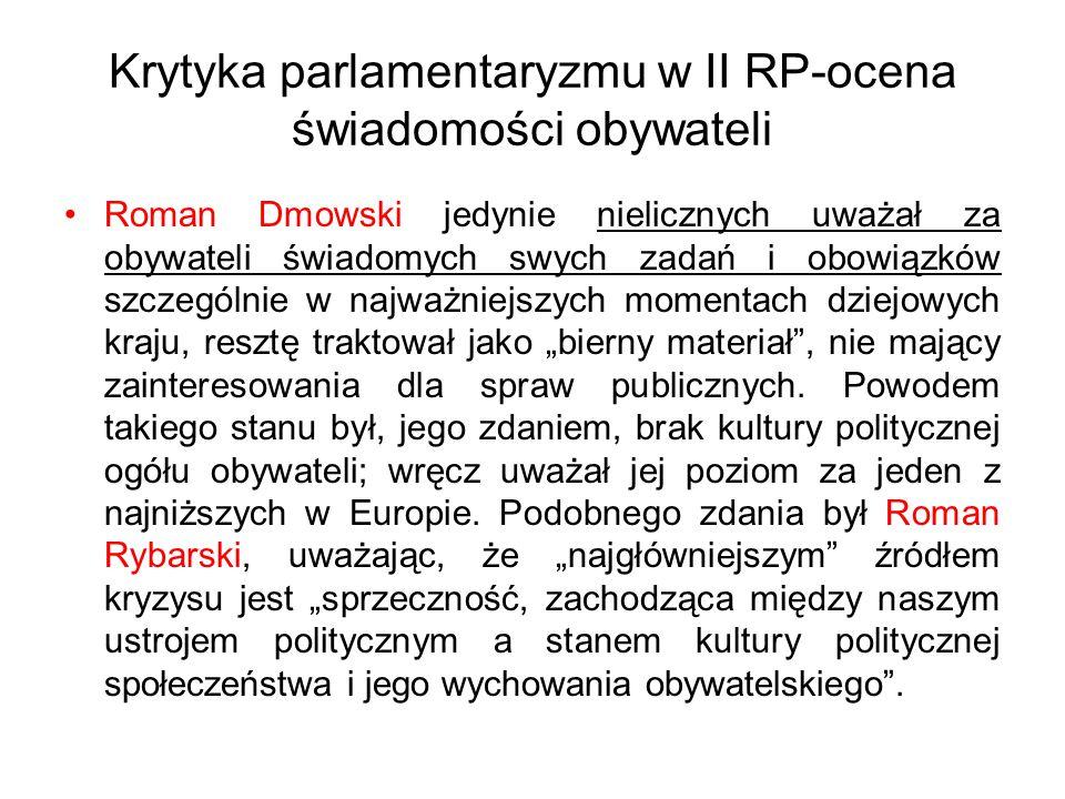 Krytyka parlamentaryzmu w II RP-ocena świadomości obywateli