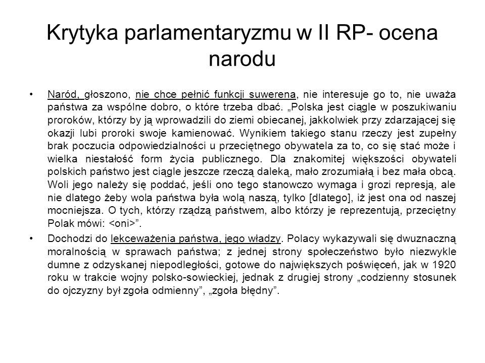 Krytyka parlamentaryzmu w II RP- ocena narodu