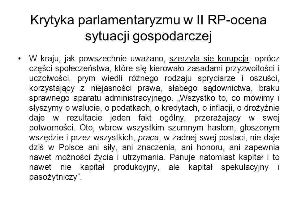 Krytyka parlamentaryzmu w II RP-ocena sytuacji gospodarczej