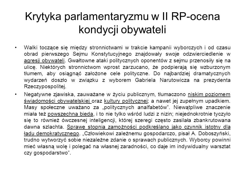Krytyka parlamentaryzmu w II RP-ocena kondycji obywateli