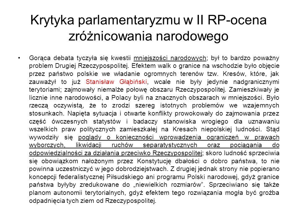 Krytyka parlamentaryzmu w II RP-ocena zróżnicowania narodowego