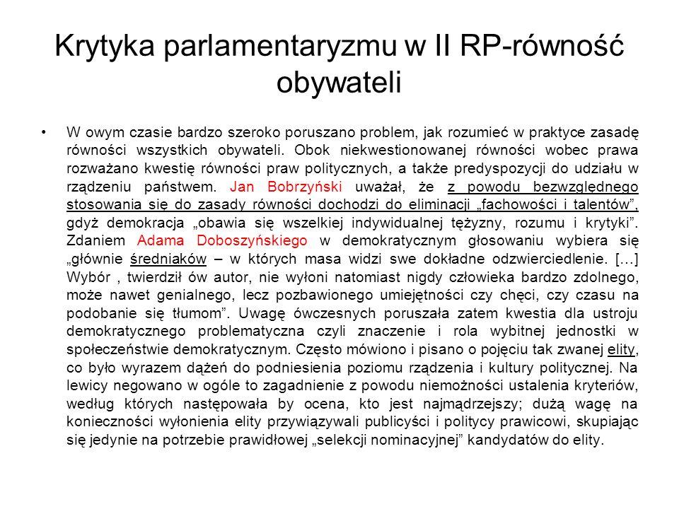 Krytyka parlamentaryzmu w II RP-równość obywateli