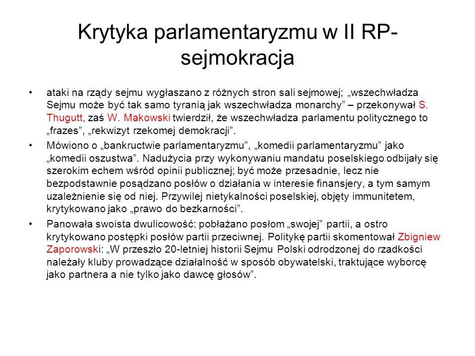 Krytyka parlamentaryzmu w II RP-sejmokracja