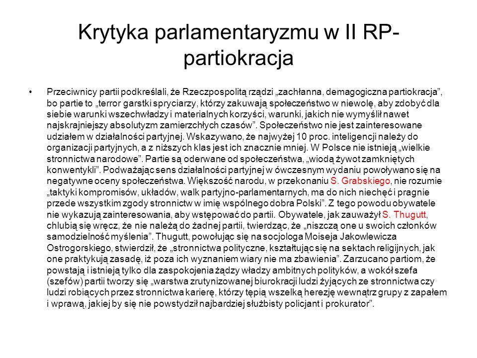 Krytyka parlamentaryzmu w II RP-partiokracja