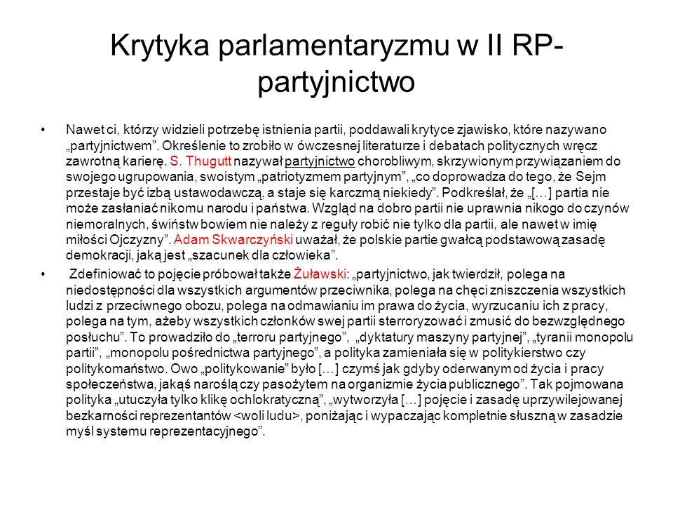 Krytyka parlamentaryzmu w II RP-partyjnictwo