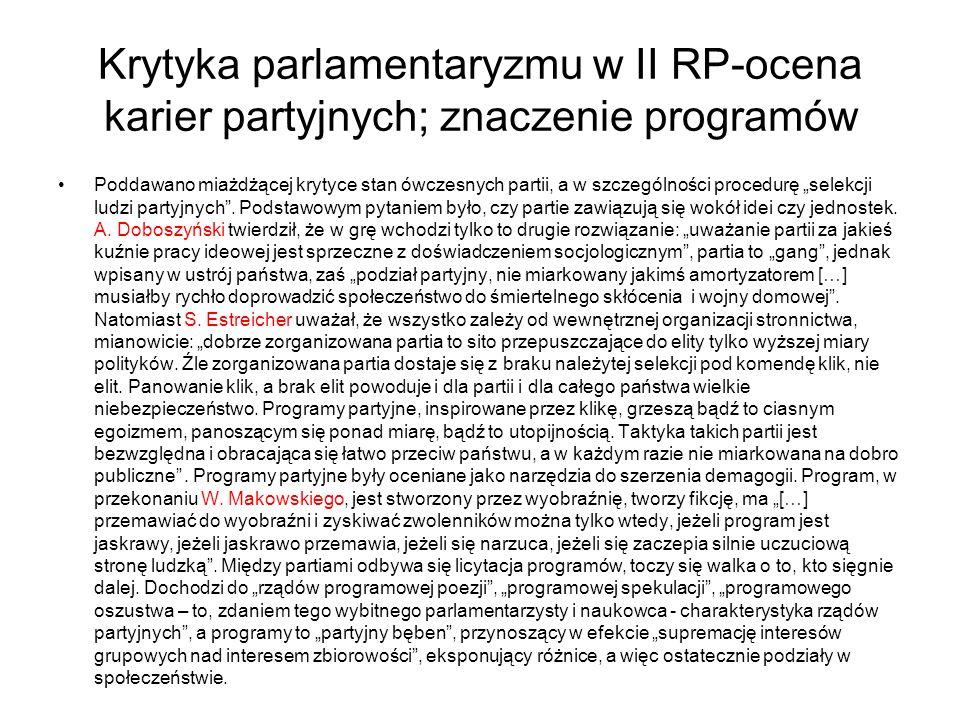 Krytyka parlamentaryzmu w II RP-ocena karier partyjnych; znaczenie programów