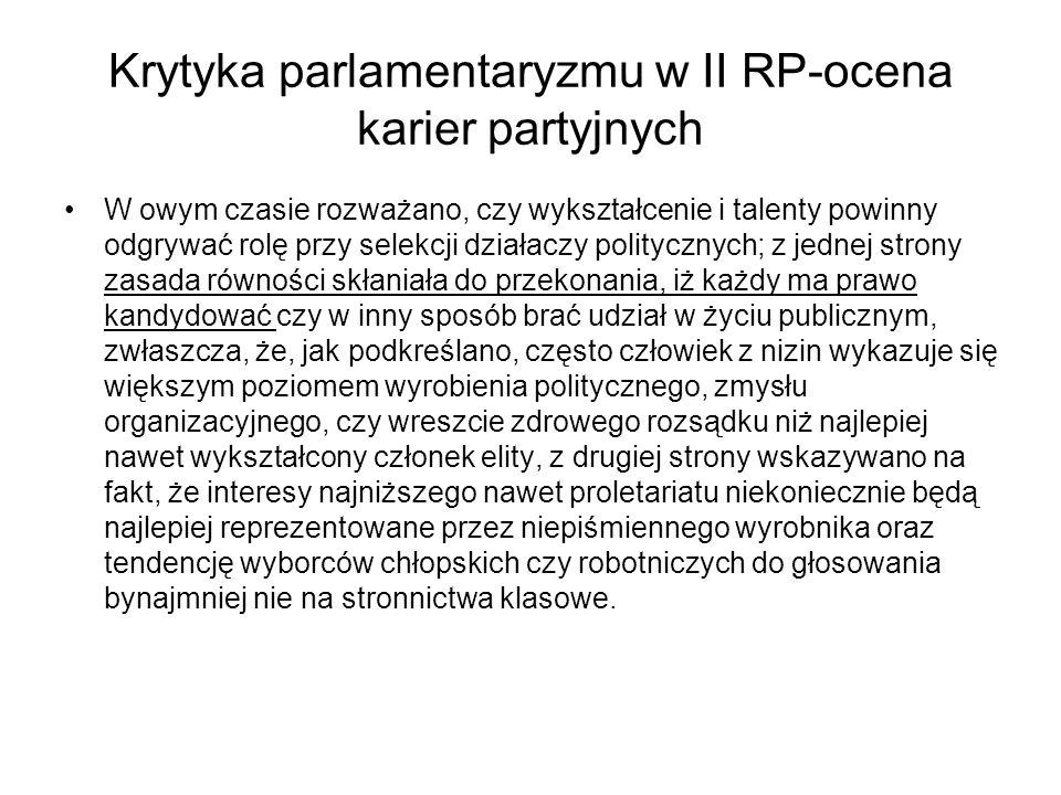 Krytyka parlamentaryzmu w II RP-ocena karier partyjnych