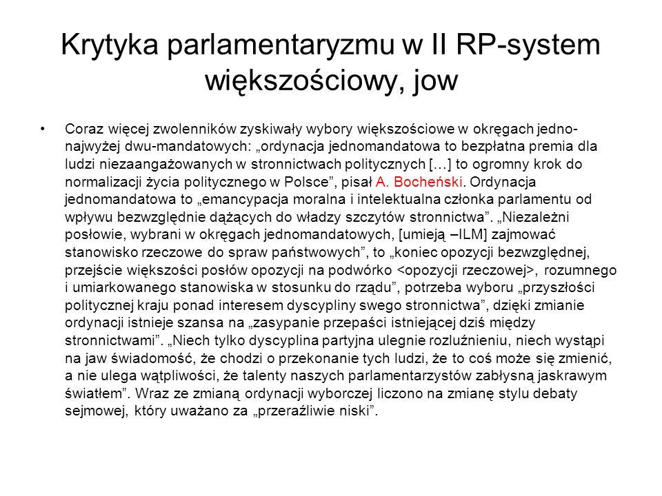 Krytyka parlamentaryzmu w II RP-system większościowy, jow