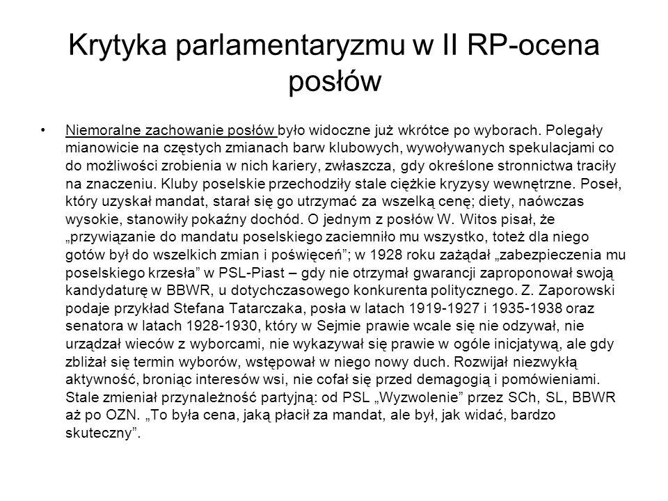 Krytyka parlamentaryzmu w II RP-ocena posłów