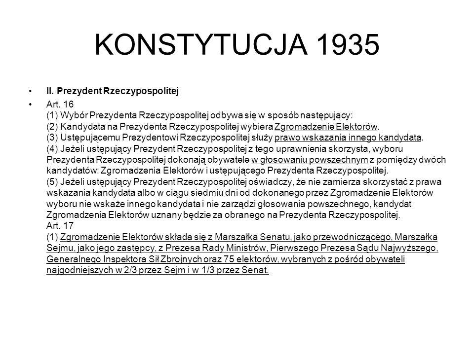 KONSTYTUCJA 1935 II. Prezydent Rzeczypospolitej