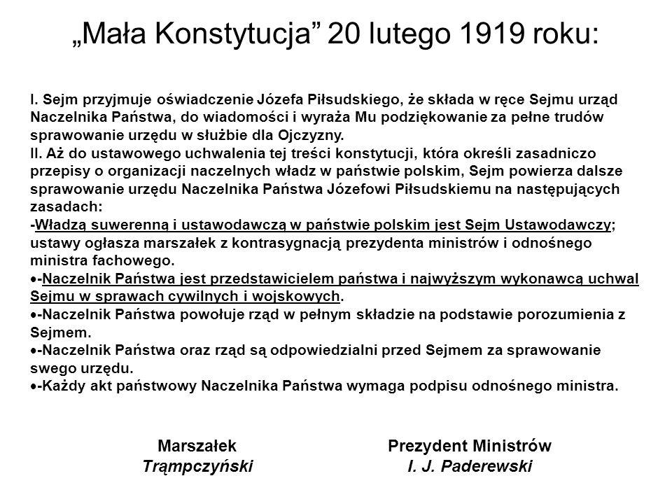 """""""Mała Konstytucja 20 lutego 1919 roku:"""